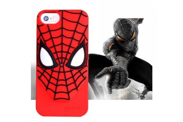 """Фирменная задняя панель-чехол-накладка с объёмным 3D изображением для iPhone 5/5S/5SE/SE  """"тематика Человек-паук"""" красная"""