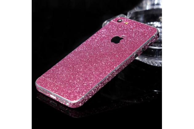 Фирменная роскошная элитная пластиковая задняя панель-накладка украшенная стразами кристалликами и декорированная элементами для iPhone 5 / 5S/ SE/ 5SE розовая