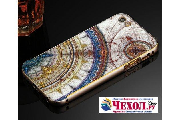 """Фирменная золотая металлическая задняя панель-крышка-накладка из тончайшего облегченного авиационного алюминия для iPhone 5 / 5S/ SE/ 5SE с объёмным 3D рисунком """"тематика Карта Мира"""""""