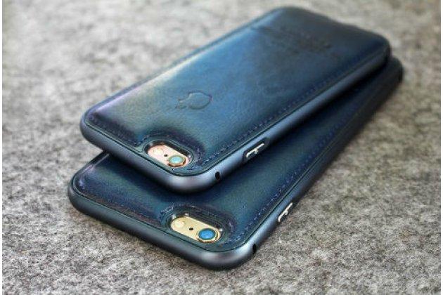 """Фирменная роскошная элитная задняя панель-крышка на металлической основе обтянутая импортной коже для iPhone 6 4.7"""" королевский синий"""