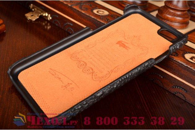 Элитная задняя панель-крышка премиум-класса из тончайшего и прочного пластика обтянутого кожей крокодила для iPhone 6S брутальный черный