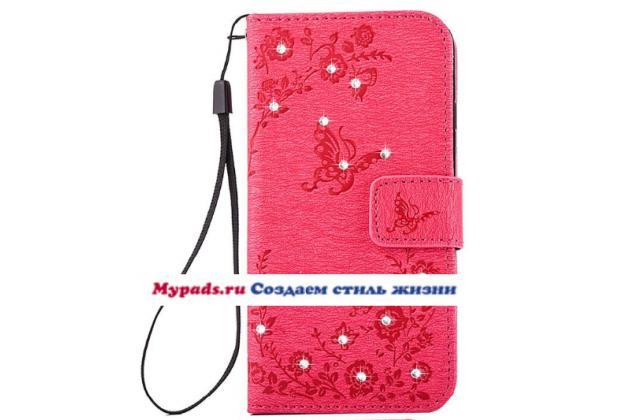 """Фирменный уникальный необычный чехол-книжка с блестками для iPhone 6S Plus """"тематика Розы"""" розового цвета"""