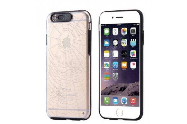 """Фирменная необычная ультра-тонкая пластиковая задняя панель-чехол-накладка для iPhone 6 Plus прозрачная с рисунком """"Паук в паутине"""""""