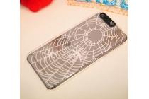 """Фирменная необычная ультра-тонкая пластиковая задняя панель-чехол-накладка для iPhone 6S Plus прозрачная с рисунком """"Паук в паутине"""""""