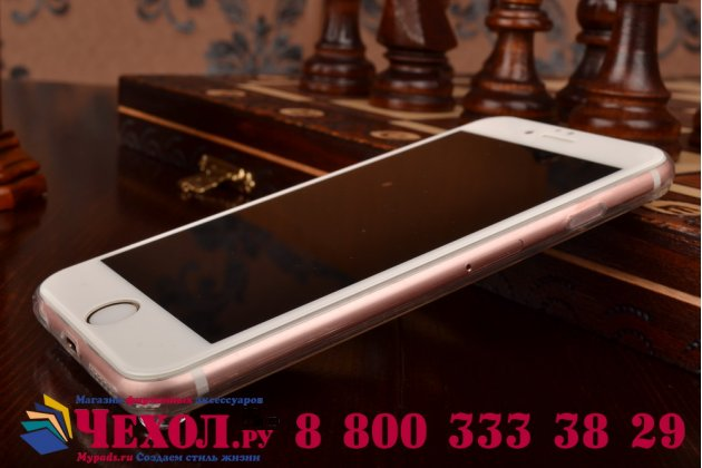 Фирменная ультра-тонкая полимерная из мягкого качественного силикона задняя панель-чехол-накладка украшенная стразами и кристаликами для iPhone 6S Plus серебряная