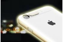 Фирменная светящаяся / c подсветкой ультра-тонкая полимерная из мягкого качественного силикона задняя панель-чехол-накладка для iPhone 6S Plus золотого цвета