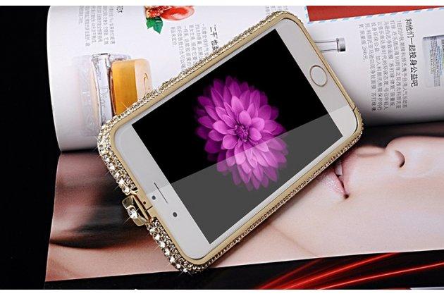 Фирменный роскошный ультра-тонкий чехол-бампер безумно красивый декорированный кристаликами для iPhone 6S Plus золотой металлический
