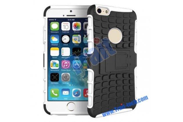 Противоударный усиленный ударопрочный фирменный чехол-бампер-пенал для iPhone 6 Plus белый