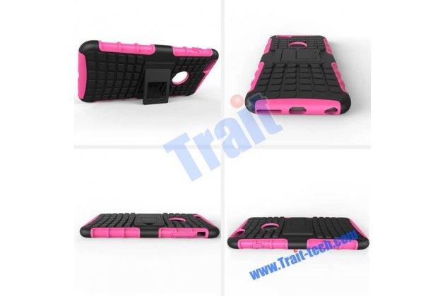 Противоударный усиленный ударопрочный фирменный чехол-бампер-пенал для iPhone 6S Plus розовый