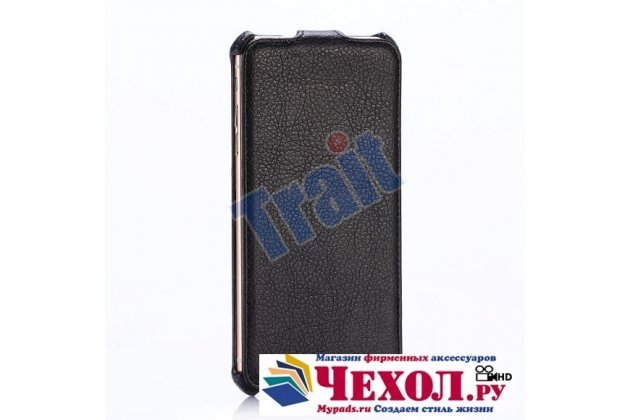 Фирменный оригинальный вертикальный откидной чехол-флип для iPhone 6S Plus черный из натуральной кожи