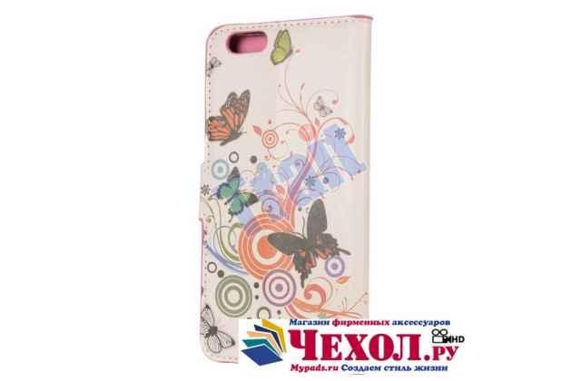 """Фирменный уникальный необычный чехол-книжка для iPhone 6S Plus """"тематика радужные Бабочки"""""""