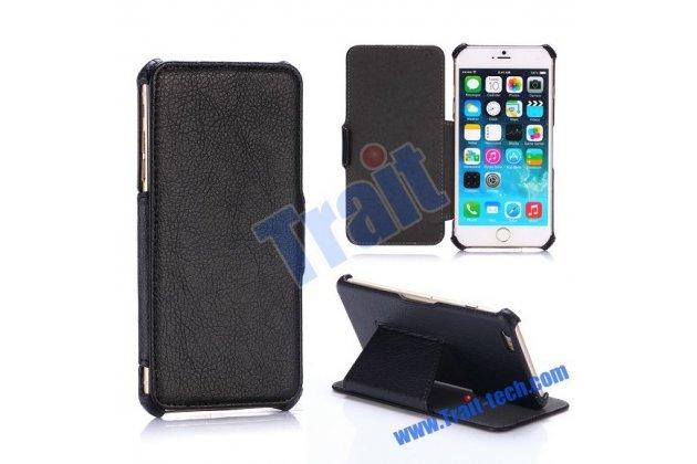 Фирменный премиальный элитный чехол-книжка из качественной импортной кожи с мульти-подставкой для iPhone 6S Plus  черный