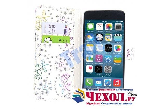 """Фирменный уникальный необычный чехол-книжка с блестками для iPhone 6S Plus """"тематика Розы"""" белого цвета"""