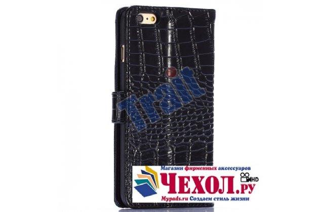 Фирменный чехол-книжка с подставкой для iPhone 6S Plus лаковая кожа крокодила цвет черный