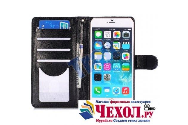 Фирменный чехол-книжка с подставкой для iPhone 6 Plus лаковая кожа крокодила цвет черный