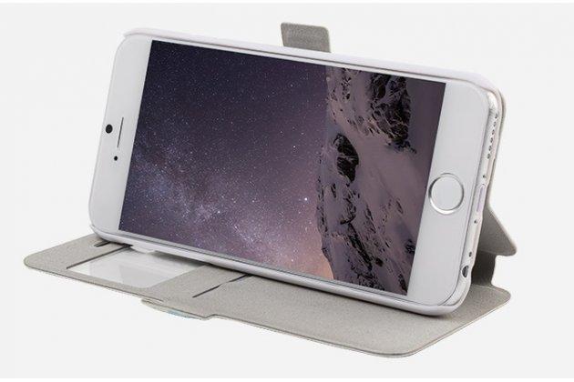 Фирменный чехол-книжка с безумно красивым расписным рисунком черепа на iPhone 6S Plus с окошком для звонков