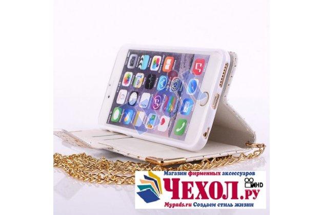 Фирменный уникальный необычный чехол-книжка-сумка-клатч с блестками для iPhone 6S Plus белого цвета