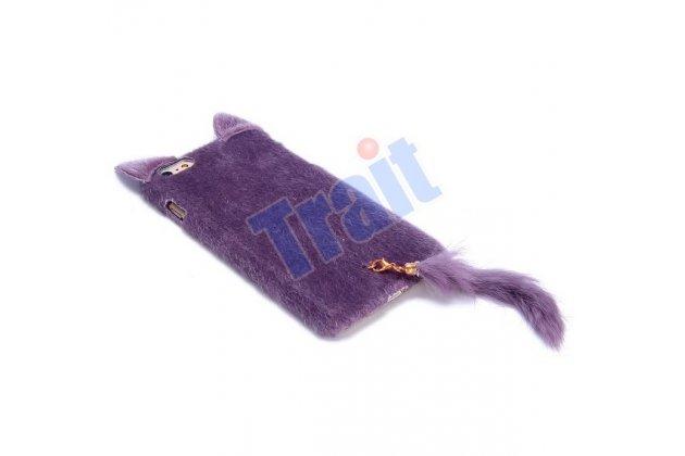 """Чехол-панель с хвостом и ушками для iPhone 6S Plus тематика """"фиолетовый пушистый Кот"""""""
