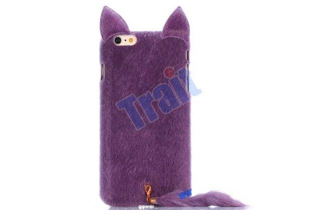 """Чехол-панель с хвостом и ушками для iPhone 6 Plus тематика """"фиолетовый пушистый Кот"""""""