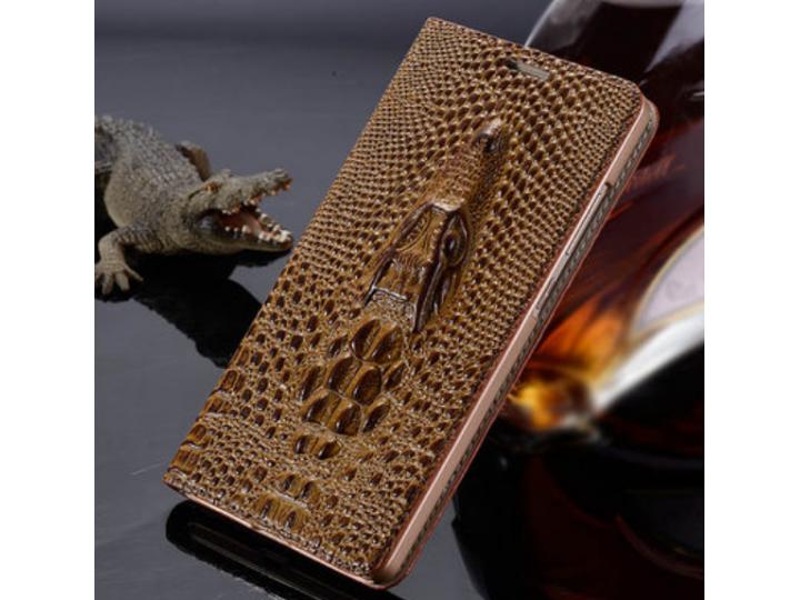 Роскошный эксклюзивный чехол с объёмным 3D изображением кожи крокодила коричневый для iPhone 6S Plus . Только ..