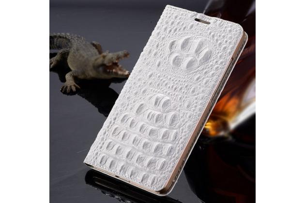 Фирменный роскошный эксклюзивный чехол с объёмным 3D изображением рельефа кожи крокодила белый для iPhone 6S Plus. Только в нашем магазине. Количество ограничено