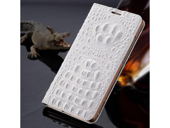Фирменный роскошный эксклюзивный чехол с объёмным 3D изображением рельефа кожи крокодила белый для iPhone 6 Pl..
