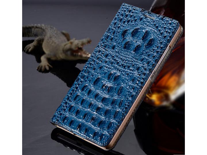 Фирменный роскошный эксклюзивный чехол с объёмным 3D изображением рельефа кожи крокодила синий для iPhone 6S P..