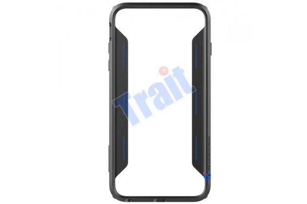 Фирменный чехол-бампер для iPhone 6 Plus синий металлический усиленный