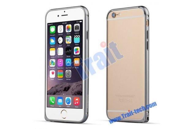 Фирменный оригинальный ультра-тонкий чехол-бампер для iPhone 6S Plus серый металлический