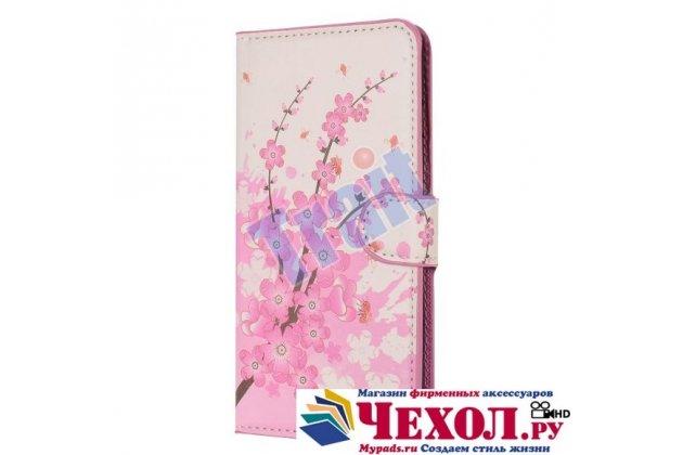 """Фирменный уникальный необычный чехол-книжка для iPhone 6 Plus """"тематика цветок Сакуры"""""""