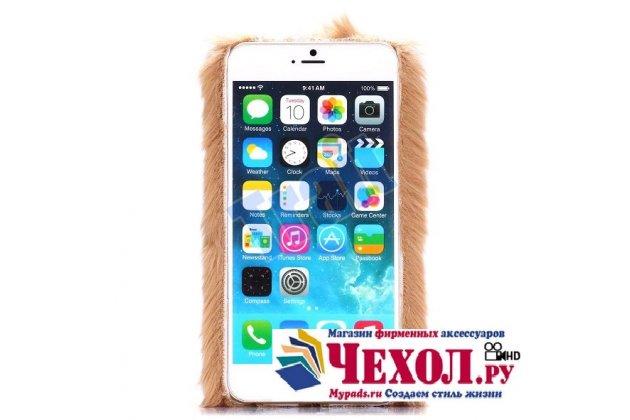 """Меховой пушистый чехол-панель для iPhone 6S plus золотой """"пушистик"""""""