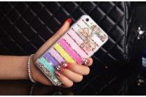 Фирменная роскошная элитная пластиковая задняя панель-накладка украшенная стразами кристалликами и декорированная элементами для iPhone 6S Plus радужная