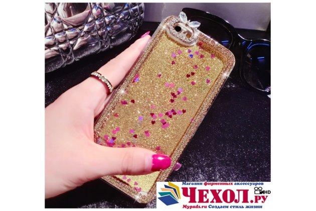 Фирменная роскошная элитная пластиковая задняя панель-накладка украшенная стразами кристалликами со втроенным АКВАРИУМОМ для iPhone 6S Plus золотая