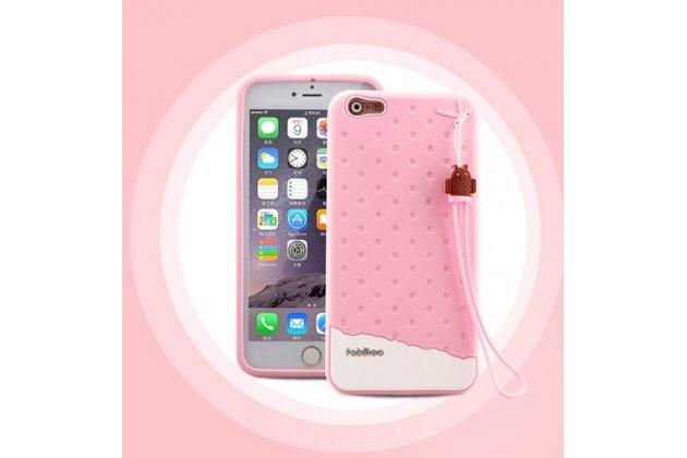 """Фирменная необычная уникальная полимерная мягкая задняя панель-чехол-накладка для iPhone 6S Plus """"тематика Андроид в клубничном шоколаде"""""""