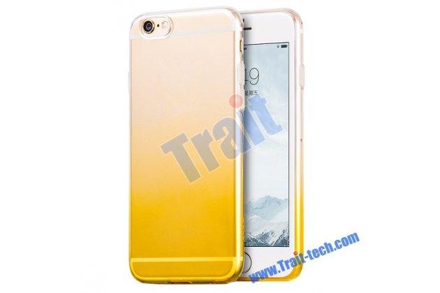 Фирменная ультра-тонкая полимерная задняя панель-чехол-накладка из силикона для iPhone 6S Plus прозрачная с эффектом песка
