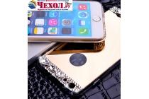 Фирменная ультра-тонкая полимерная из мягкого качественного силикона задняя панель-чехол-накладка украшенная стразами и кристаликами для iPhone 6S Plus золотая