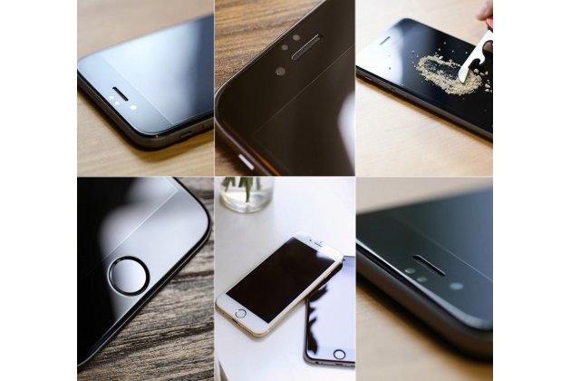 Фирменное 3D защитное стекло которое полностью закрывает экран / дисплей по краям с олеофобным покрытием для iPhone 6S Plus белого цвета