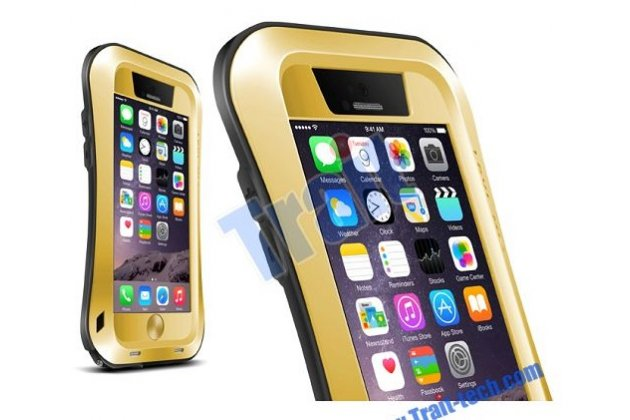 Неубиваемый водостойкий противоударный водонепроницаемый грязестойкий влагозащитный ударопрочный фирменный чехол-бампер для iPhone 6S Plus золотой цельно-металлический со стеклом Gorilla Glass