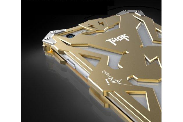 Противоударный металлический чехол-бампер из цельного куска металла с усиленной защитой углов и необычным экстремальным дизайном  для iPhone 6S Plus золотого цвета