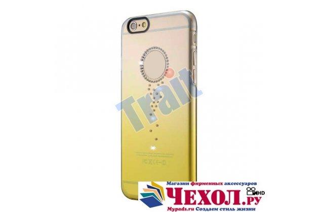 Фирменная из тонкого и лёгкого пластика задняя панель-чехол-накладка декорированная старазми для iPhone 6S Plus прозрачная с эффектом песка