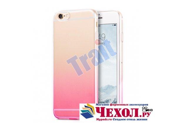 Фирменная ультра-тонкая полимерная задняя панель-чехол-накладка из силикона для iPhone 6S Plus прозрачная с эффектом заходящего солнца