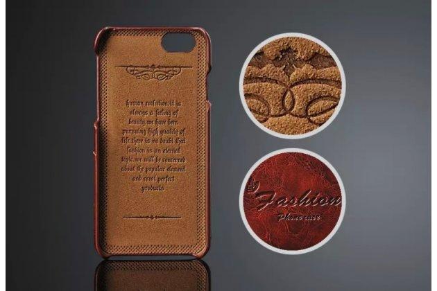 Фирменная роскошная элитная премиальная задняя панель-крышка для iPhone 6S Plus из качественной кожи буйвола с визитницей коричневый