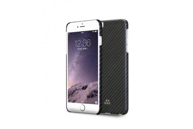 """Задняя панель-крышка из тончайшего и прочного пластика для iPhone 6S Plus с матовой отделкой """"под карбон"""" черная"""