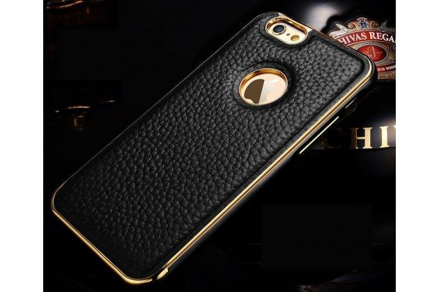 Фирменная роскошная элитная премиальная задняя панель-крышка на металлической основе обтянутая импортной кожей для iPhone 6S Plus королевский черный
