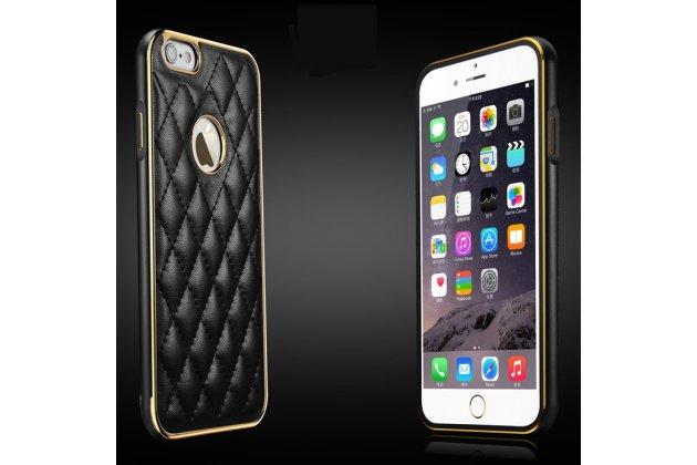 Фирменная роскошная элитная задняя панель-крышка на металлической основе обтянутая импортной кожей прошитой стёганым узором для iPhone 6S Plus королевский черный
