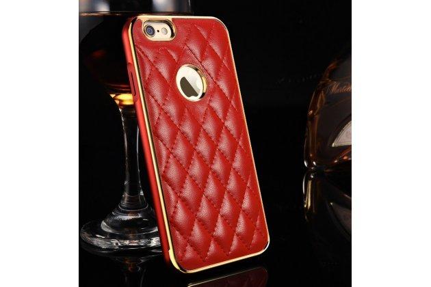 Фирменная роскошная элитная задняя панель-крышка на металлической основе обтянутая импортной кожей прошитой стёганым узором для iPhone 6S Plus королевский красный