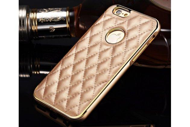 Фирменная роскошная элитная задняя панель-крышка на металлической основе обтянутая импортной кожей прошитой стёганым узором для iPhone 6S Plus королевский золотой