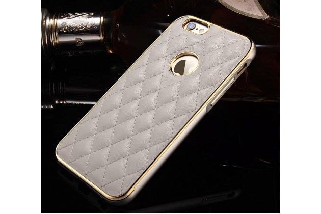 Фирменная роскошная элитная задняя панель-крышка на металлической основе обтянутая импортной кожей прошитой стёганым узором для iPhone 6S Plus королевский серый