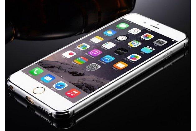Фирменная металлическая задняя панель-крышка-накладка из тончайшего облегченного авиационного алюминия для iPhone 6S Plus серебристая