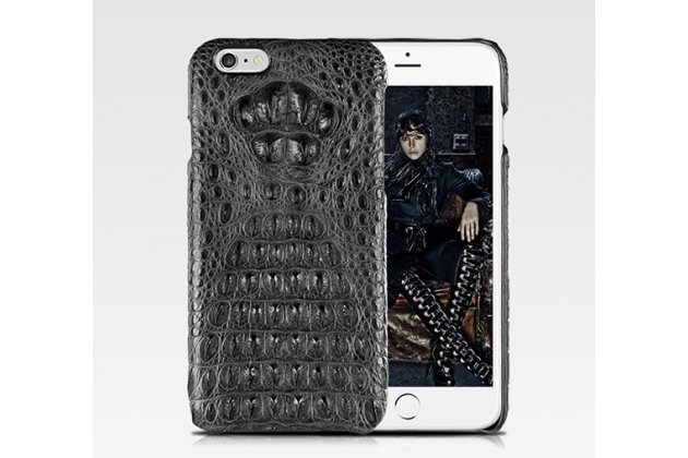 Элитная задняя панель-крышка премиум-класса из тончайшего и прочного пластика обтянутого кожей крокодила для iPhone 6S Plus брутальный черный